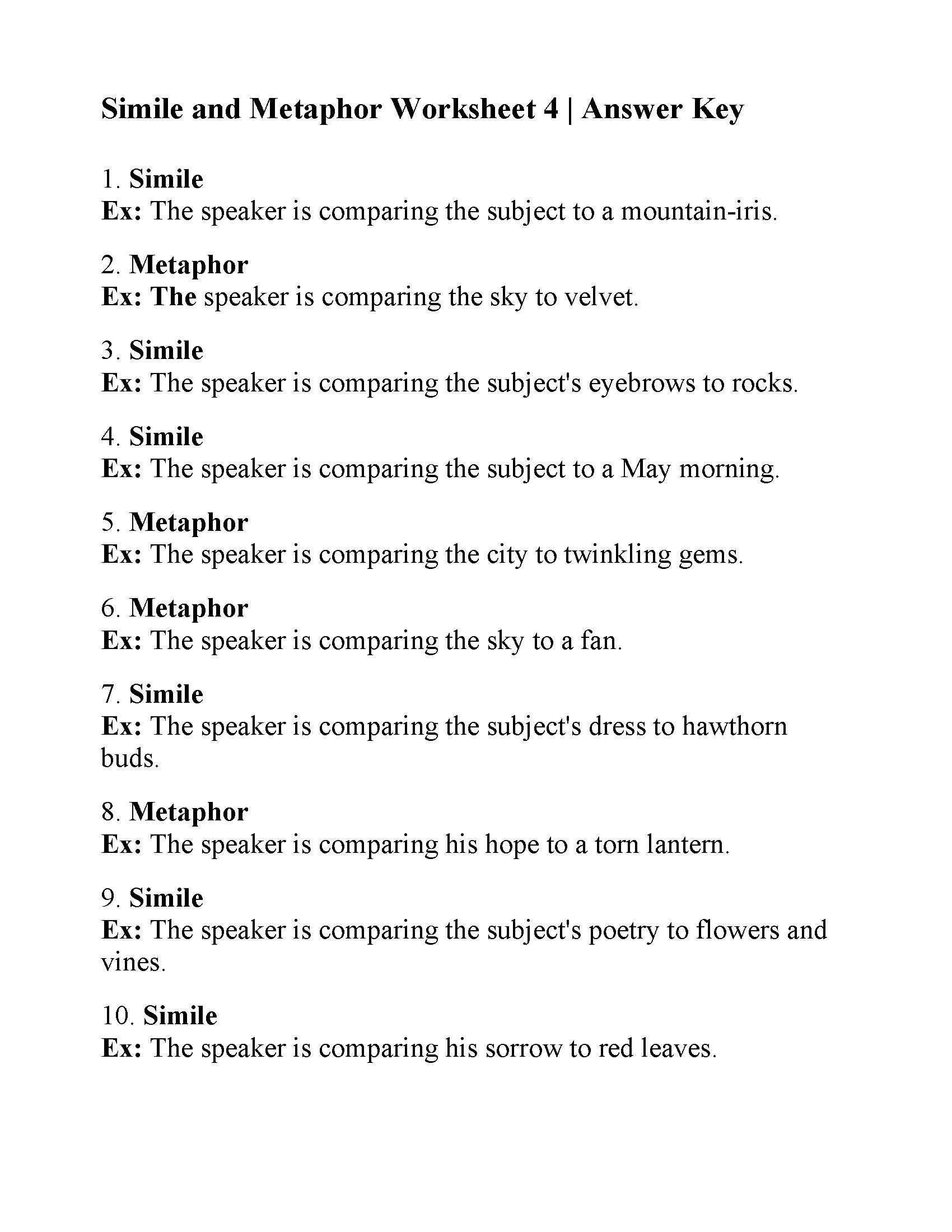 Simile And Metaphor Worksheet Answers Similes Metaphors