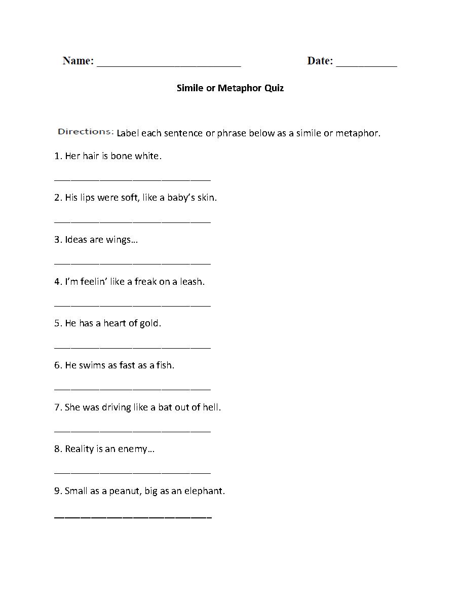 Simile Or Metaphor Quiz Worksheet | Similes And Metaphors
