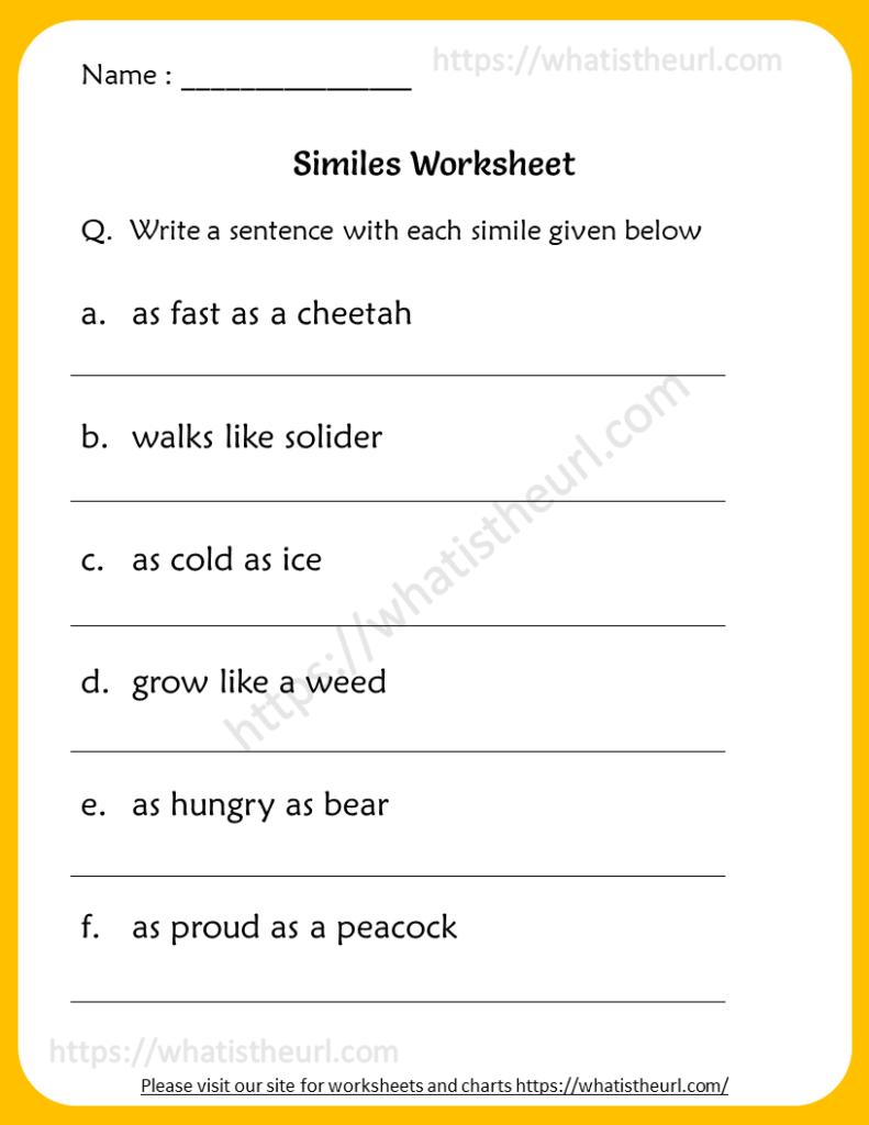 Similes Worksheets For Grade 6   Your Home Teacher