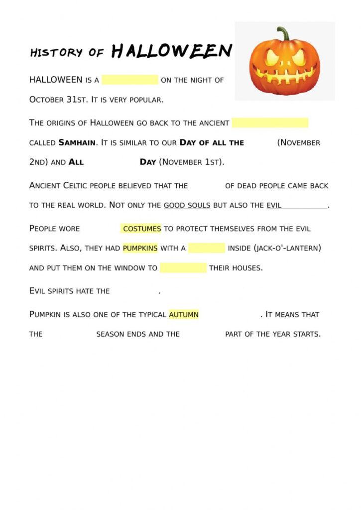 Simple History Of Halloween Worksheet