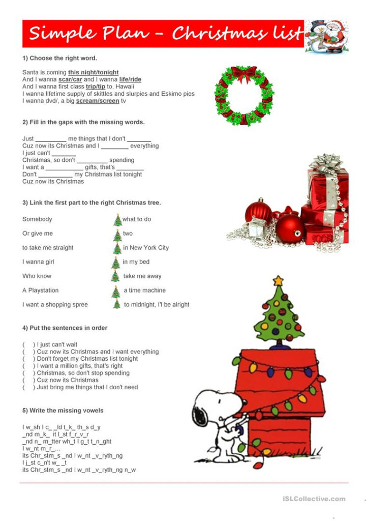 Simple Plan   Christmas List (Song)   English Esl Worksheets