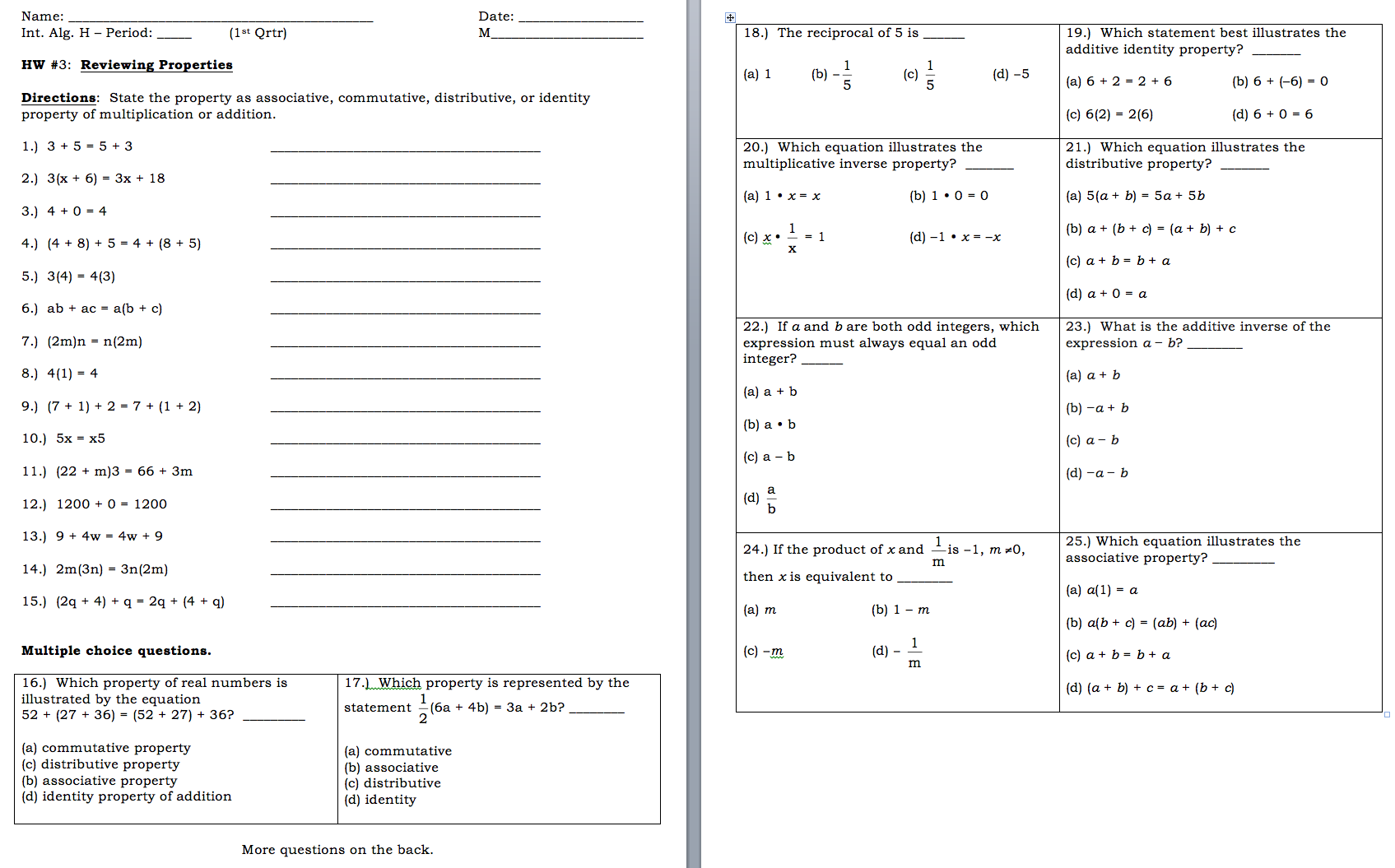 Simplifying Expressions With Distributive Property Worksheet