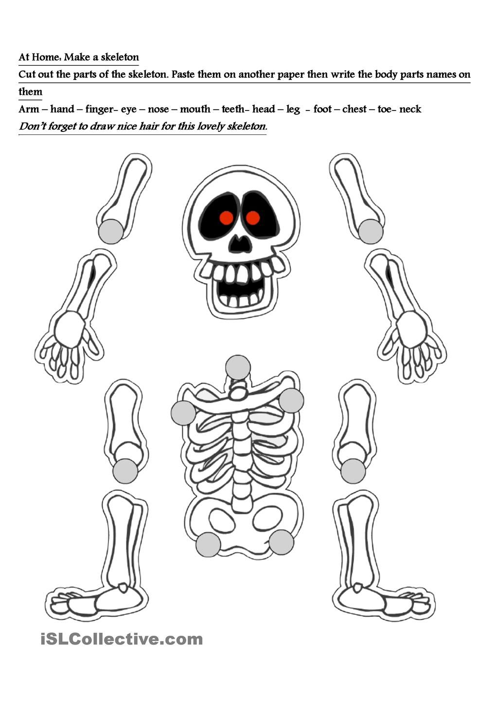 Skeleton Worksheet | Halloween Crafts, Day Of The Dead Art