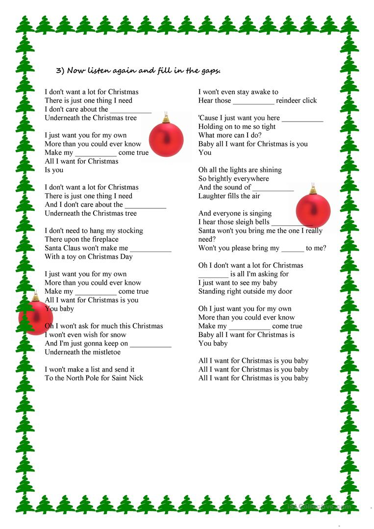 Song Activity - All I Want For Christmas Is You - English