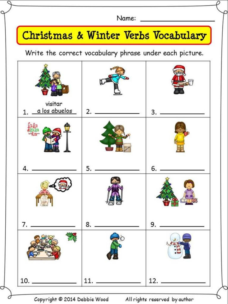 Spanish Christmas Activities Nouns And Verbs | Nouns And