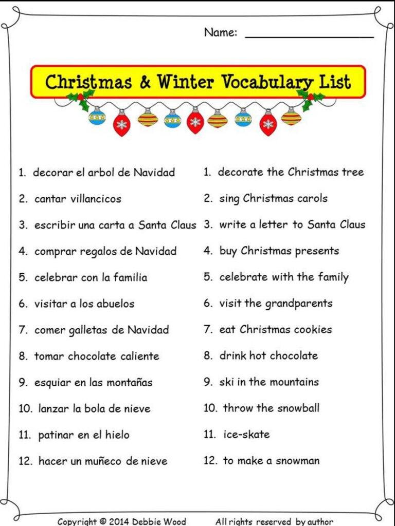 Spanish Christmas Activities | Spanish Nouns And Verbs