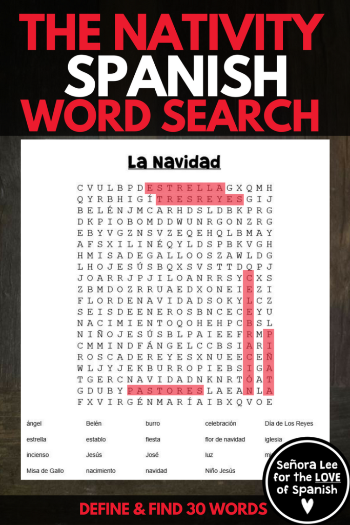 Spanish Christmas Activity   Spanish Word Search   La