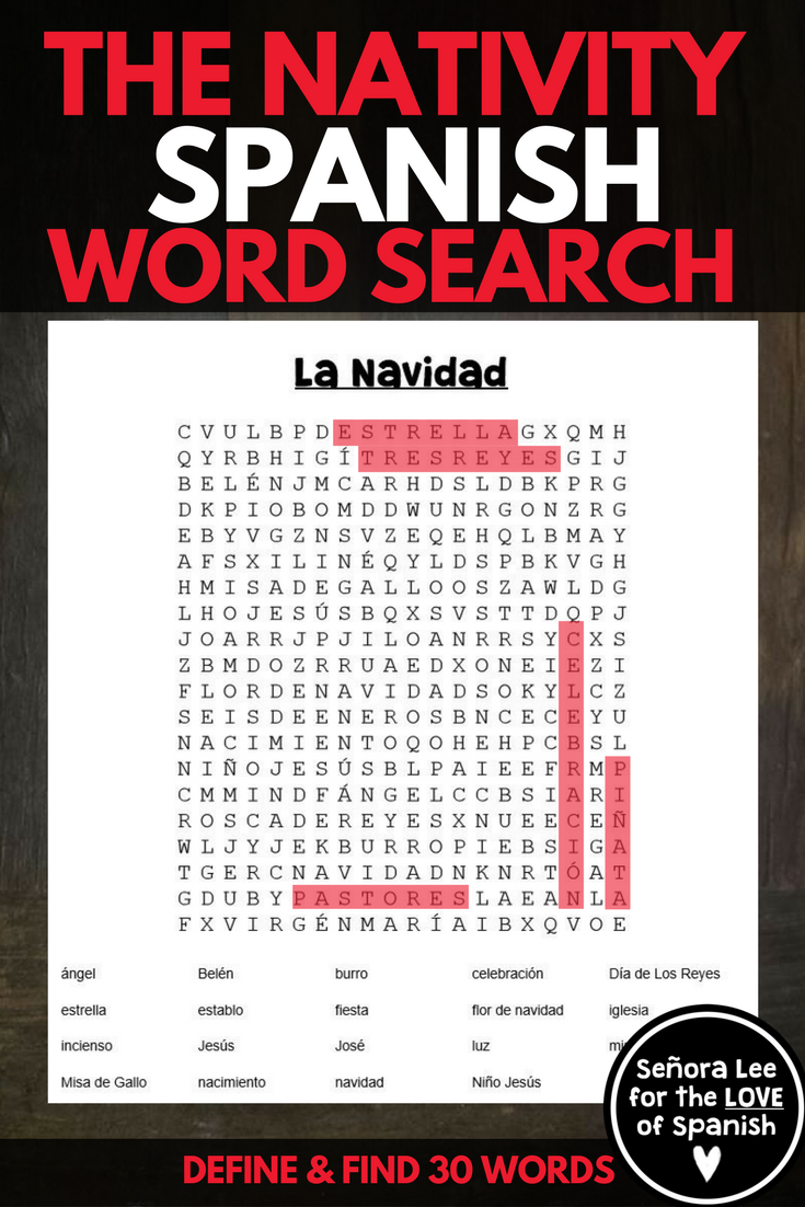 Spanish Christmas Activity - Spanish Word Search - La