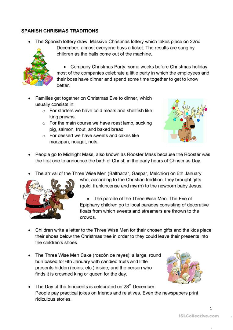 Spanish Christmas Traditions - English Esl Worksheets For