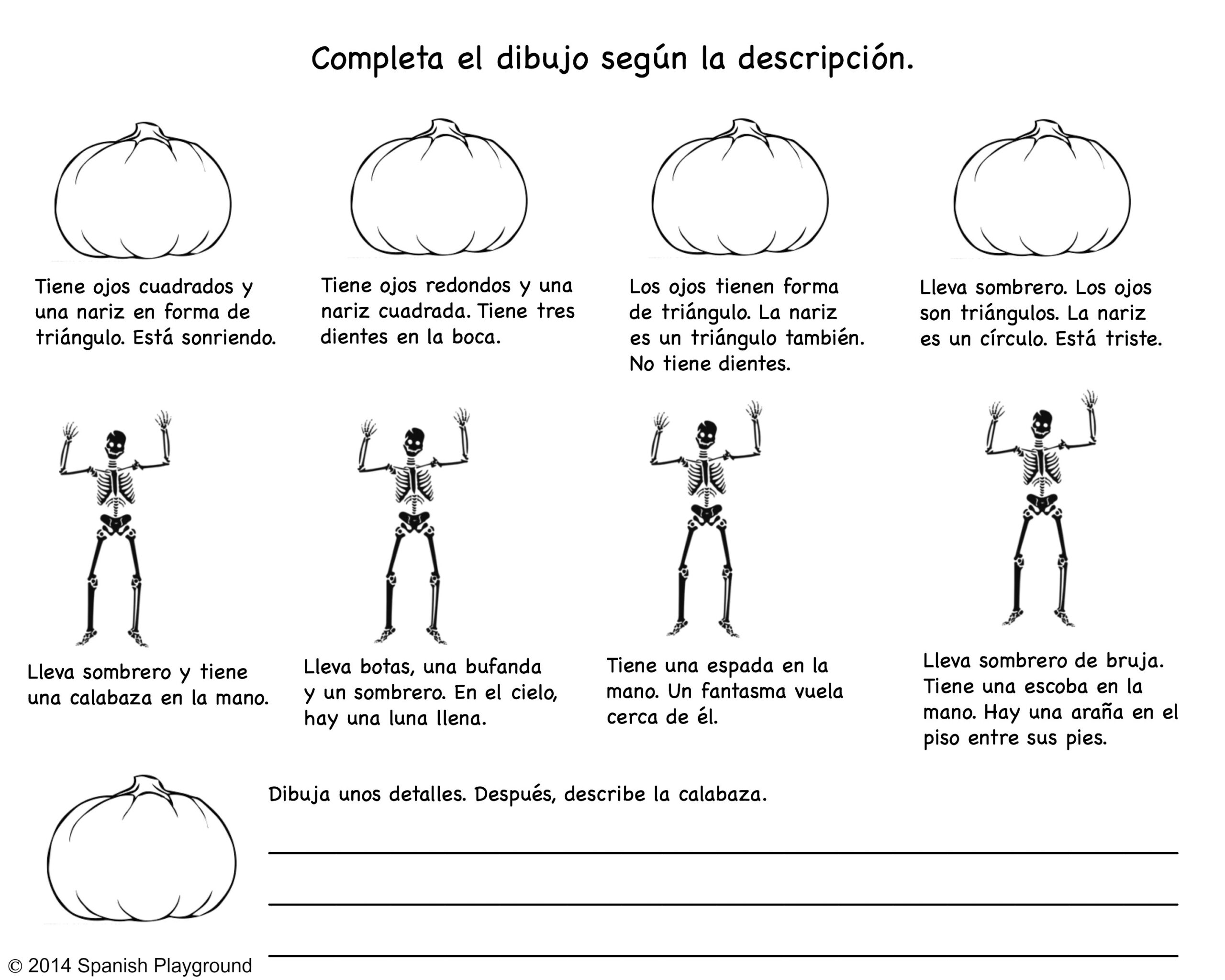 Spanish Halloween Read-And-Draw Printable - Spanish Playground