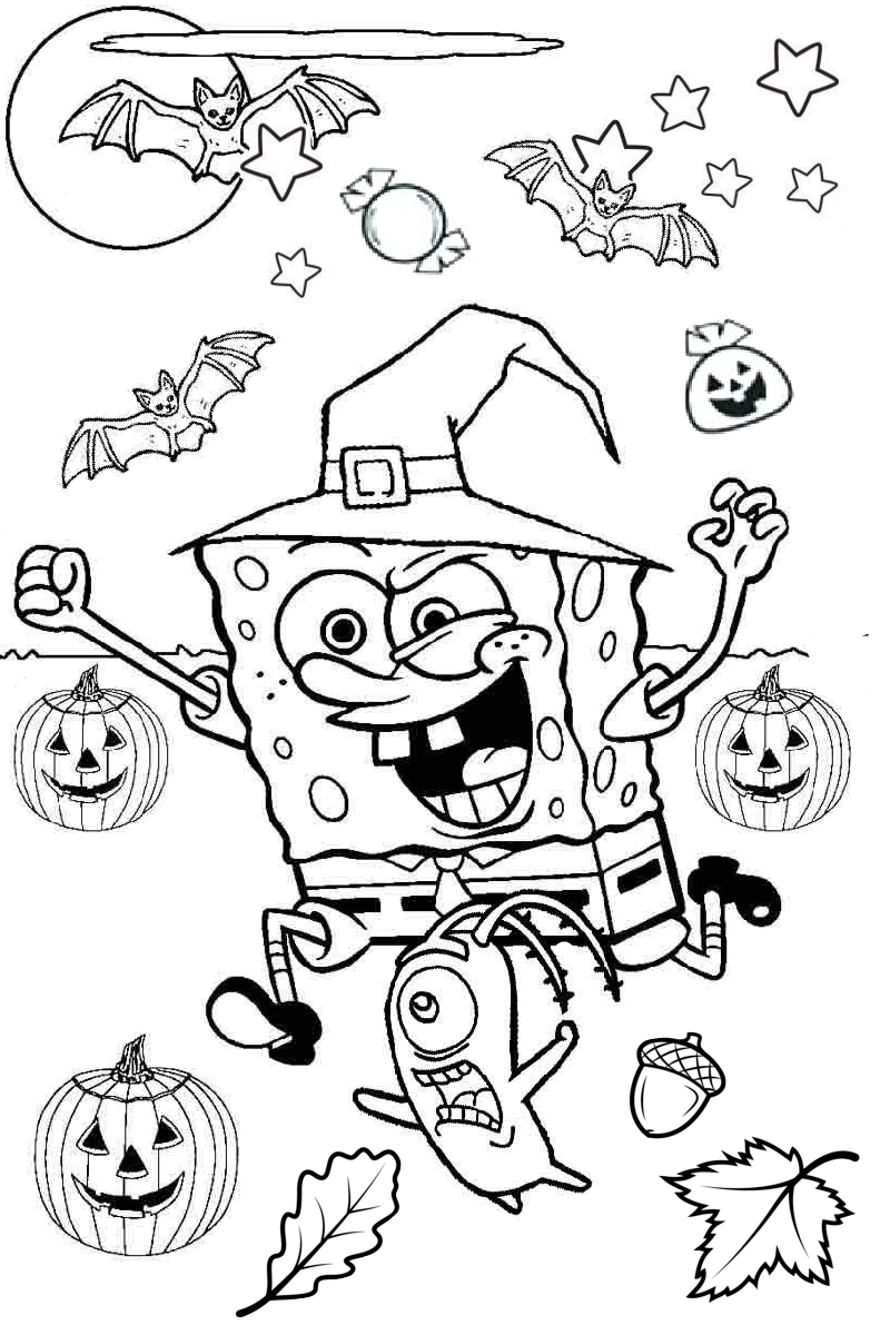 Spongebob Squarepants Scary Halloween Coloring Pages With