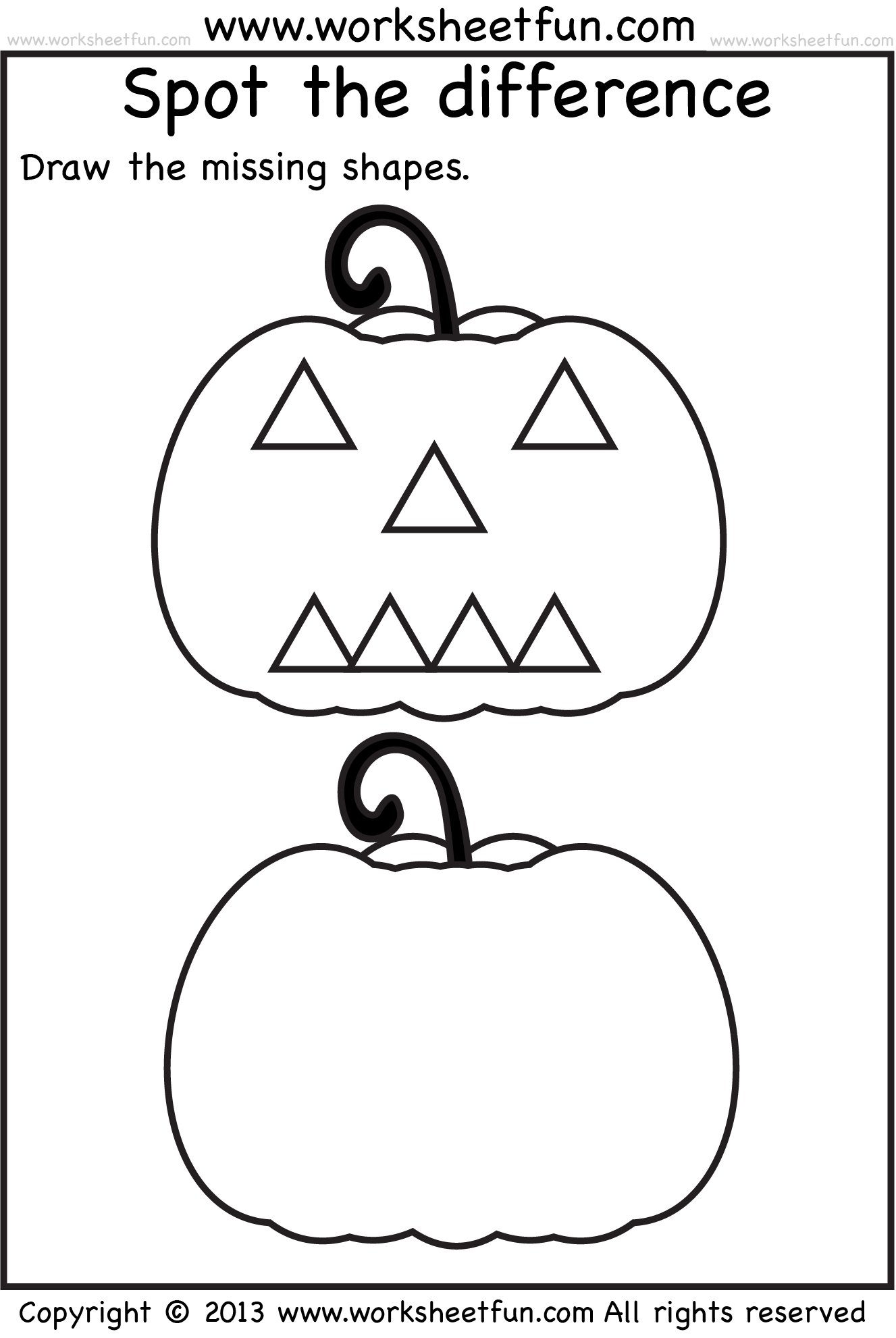 Spot The Difference – Pumpkin – 1 Worksheet / Free Printable