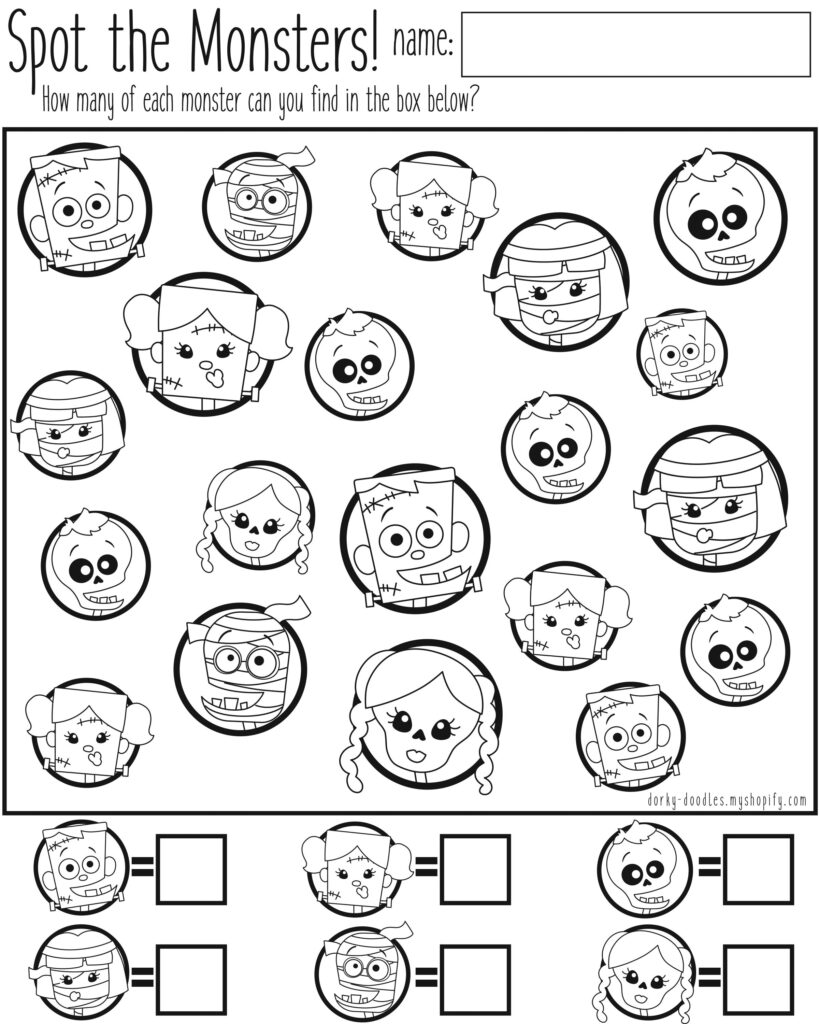 Spot The Monsters Counting Worksheet | Halloween Counting