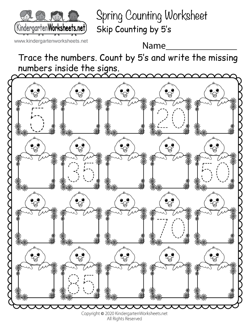 Spring Counting Worksheet For Kindergarten - Skip Counting5S