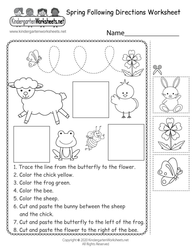 Spring Following Directions Worksheet For Kindergarten