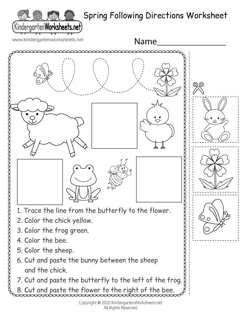Spring Following Directions Worksheet For Kindergarten