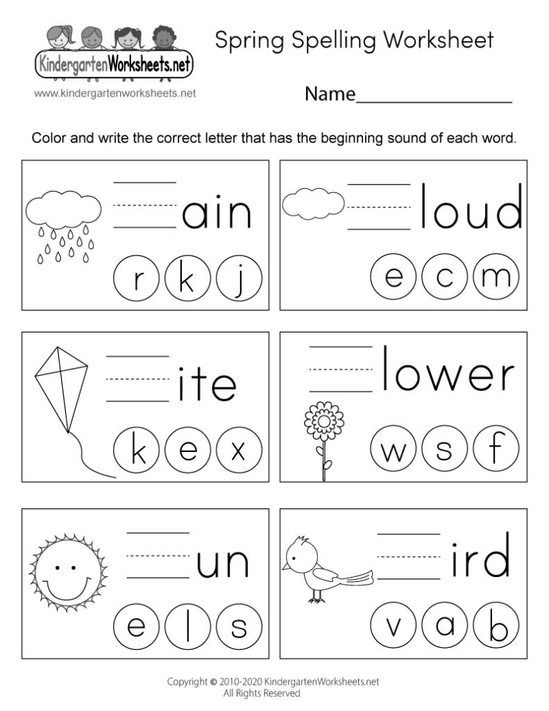 Spring Spelling Worksheet For Kindergarten   Beginning Sounds