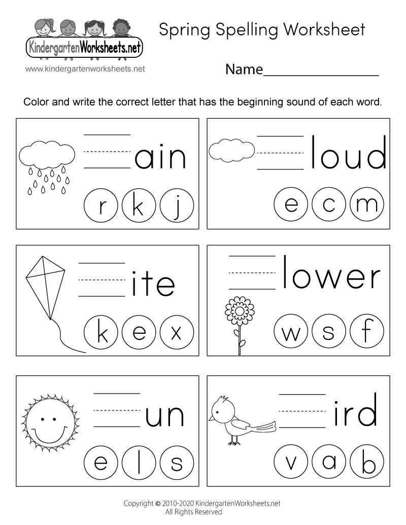 Spring Spelling Worksheet For Kindergarten - Beginning Sounds