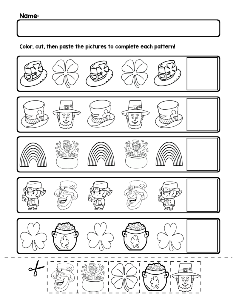 St. Patrick's Day Ab Pattern Worksheets | 5 Pages | Ab