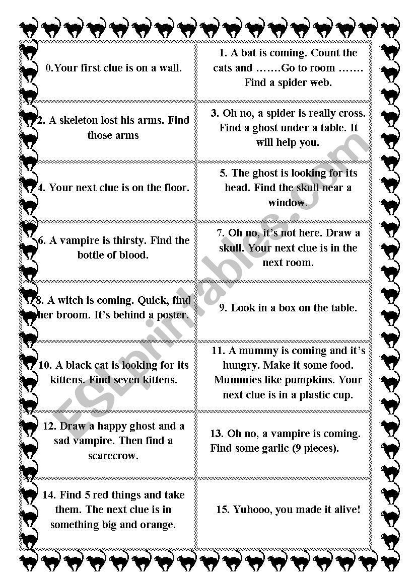 Super Fun Halloween Scavenger Hunt - Esl Worksheetnoavatar