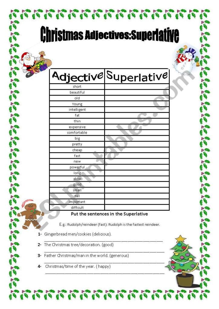 Superlatives: Christmas Adjectives   Esl Worksheetmarta