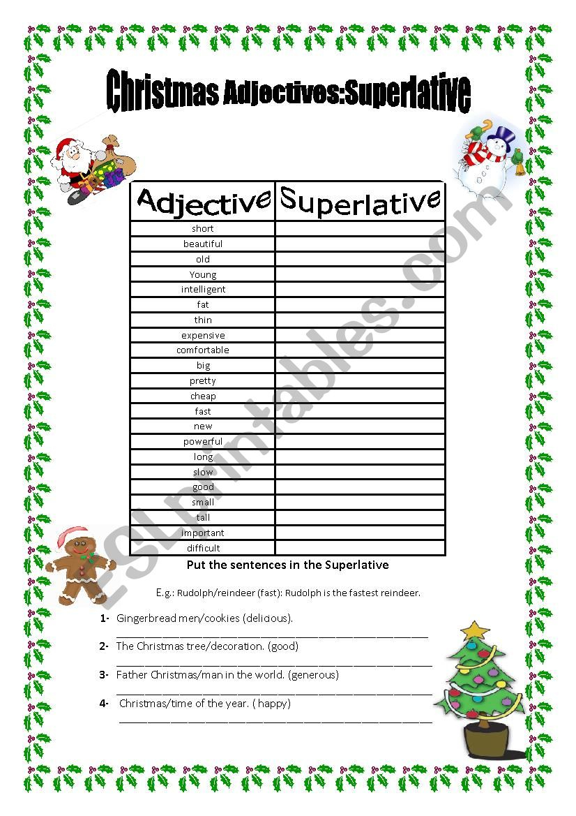 Superlatives: Christmas Adjectives - Esl Worksheetmarta