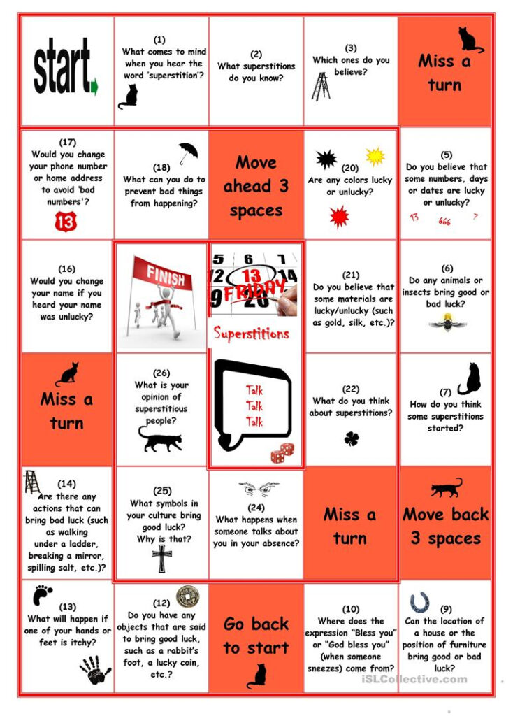 Superstitions Board Game   English Esl Worksheets For