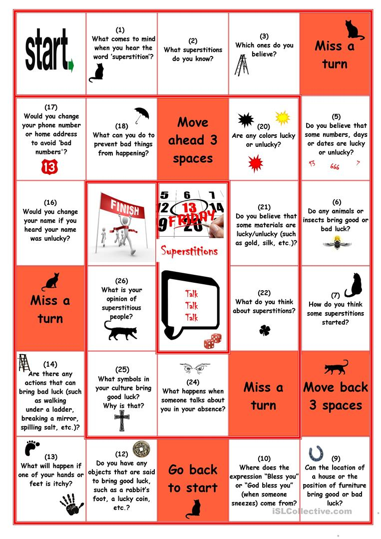 Superstitions Board Game - English Esl Worksheets For