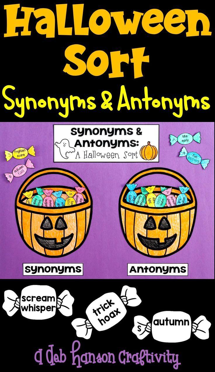 Synonym Antonym Halloween Sort- Students Analyze Word