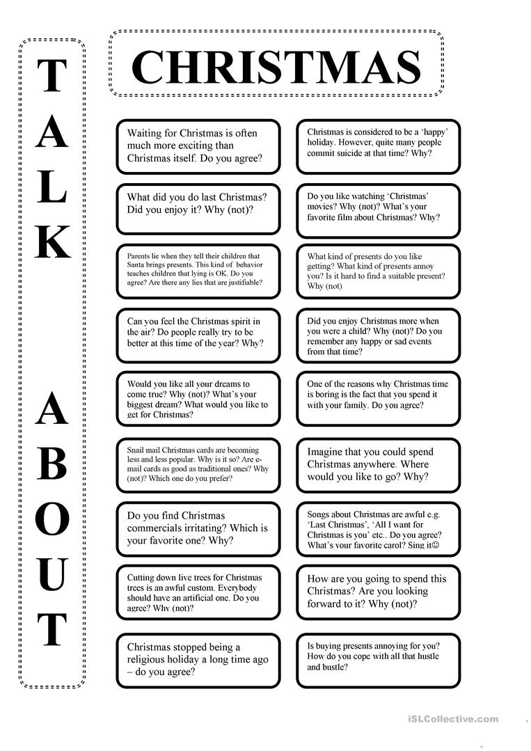 Talk About Christmas - English Esl Worksheets For Distance