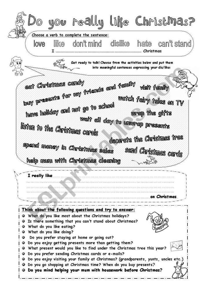 Talk About Christmas   Gerund After Verbs   Esl Worksheet