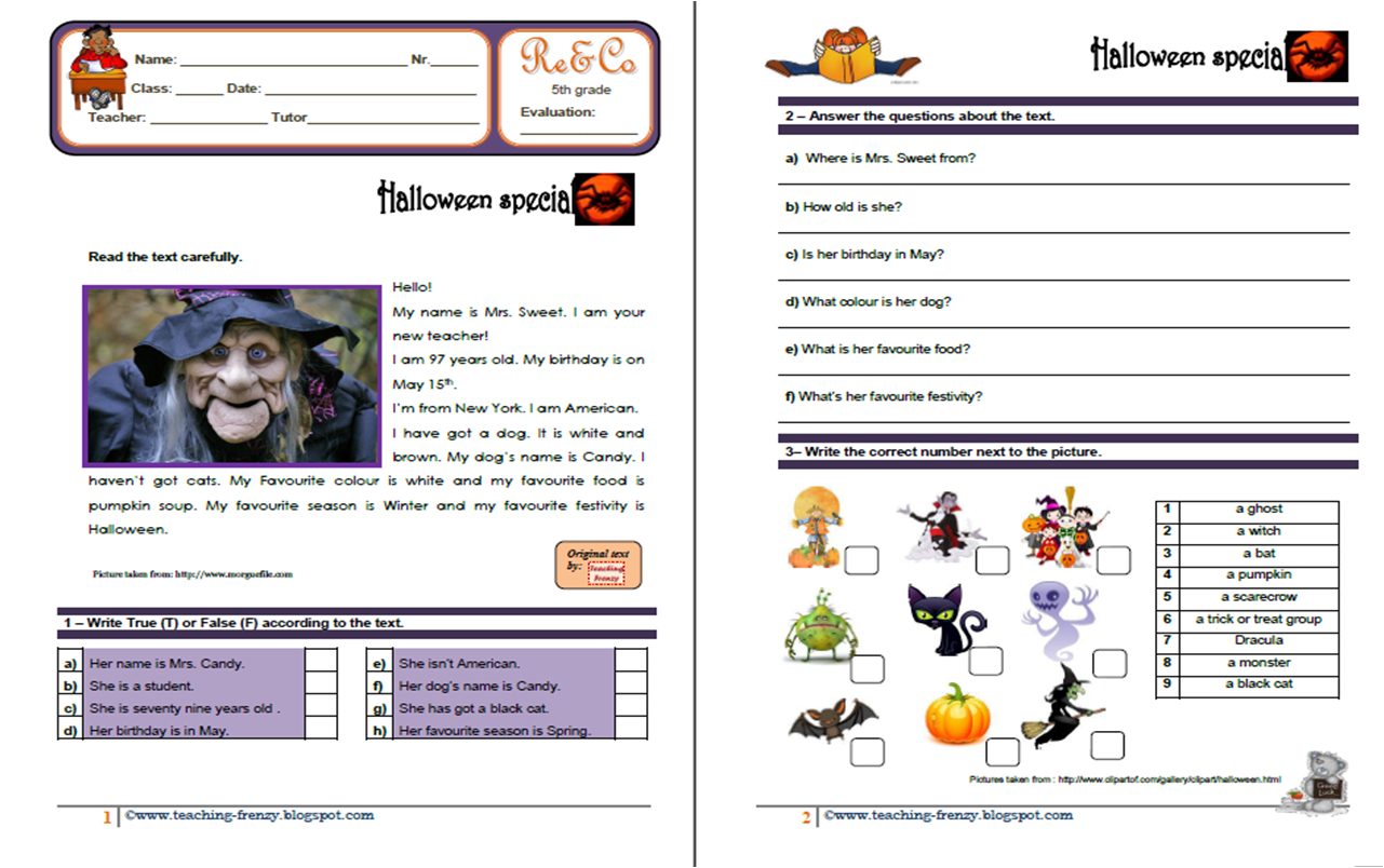 Teaching-Frenzy: Halloween Reading Comprehension Ws. 5Th