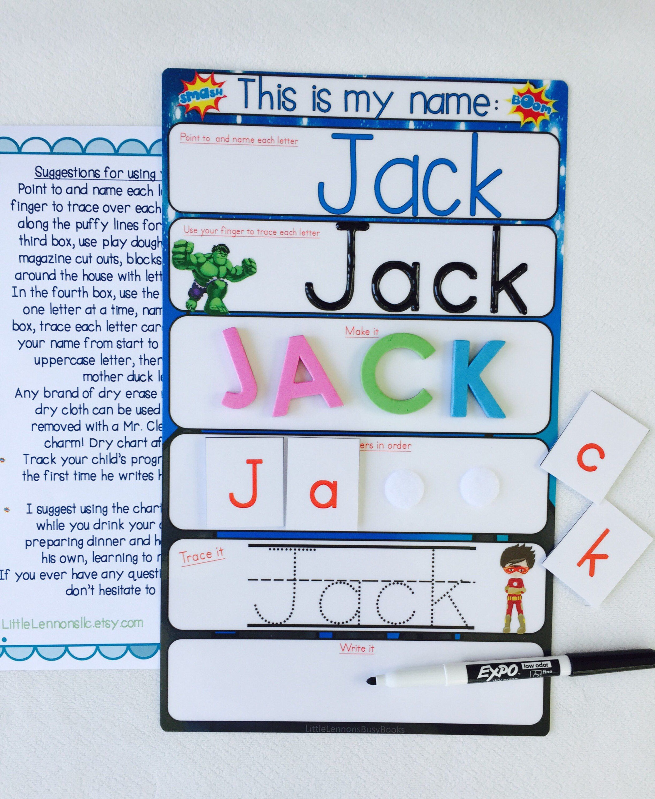 Teaching Resource Tracing Name Tracing Letters Unicorn with Name Tracing Jack