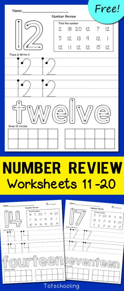 Teen Number Worksheets 11 20 | Totschooling   Toddler