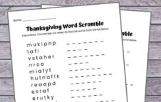 Thanksgiving Word Scramble Free Printable With Answer Key