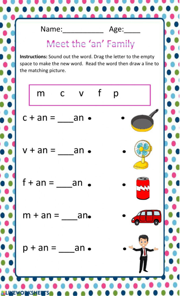 The An Family Interactive Worksheet Language Development