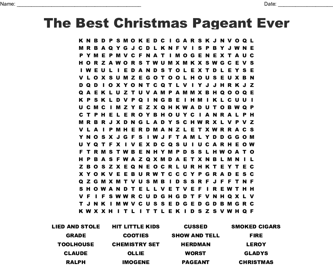 The Best Christmas Pageant Ever Word Search - Wordmint