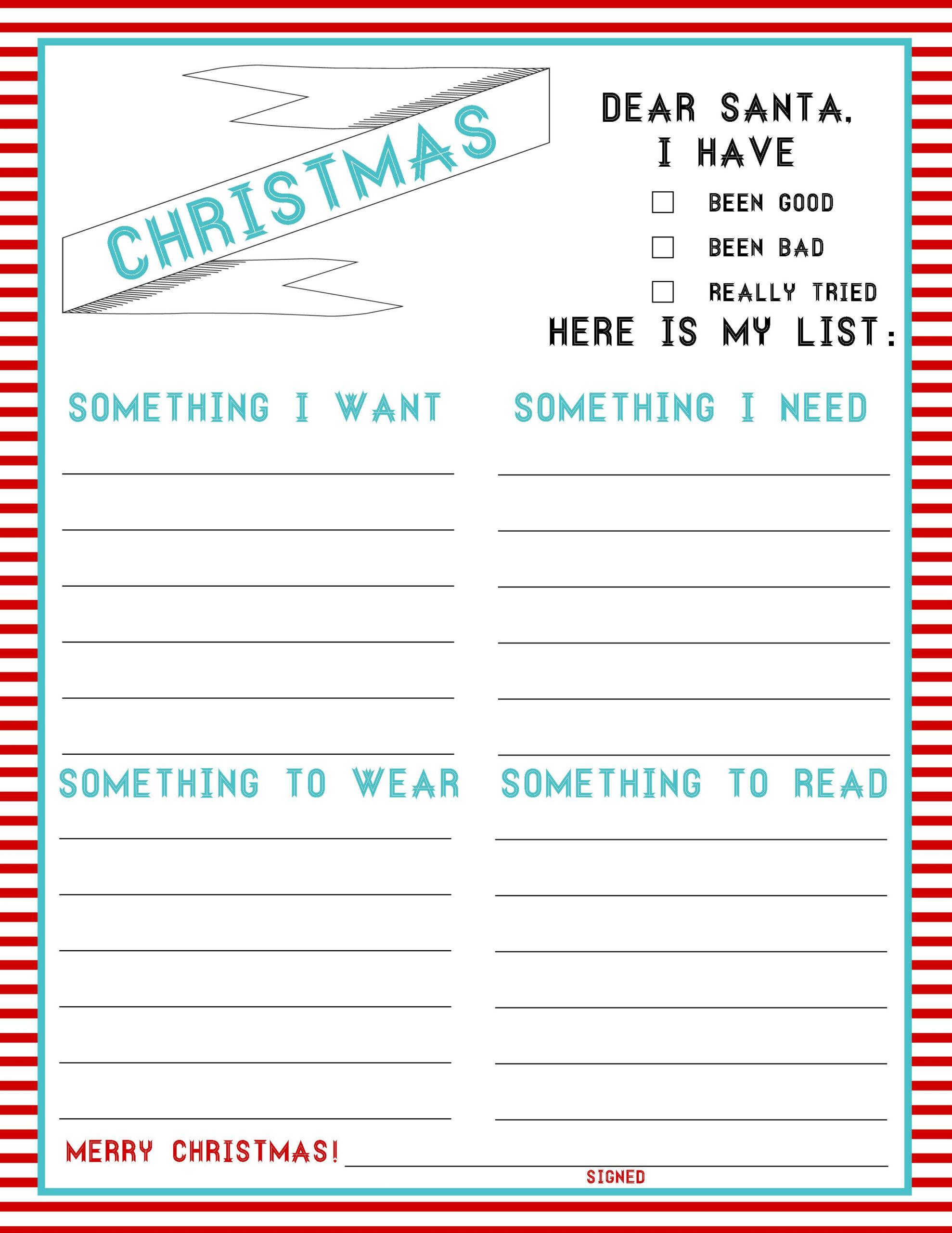 The Christmas List: 4-Things (Freebie) | Kids Christmas List