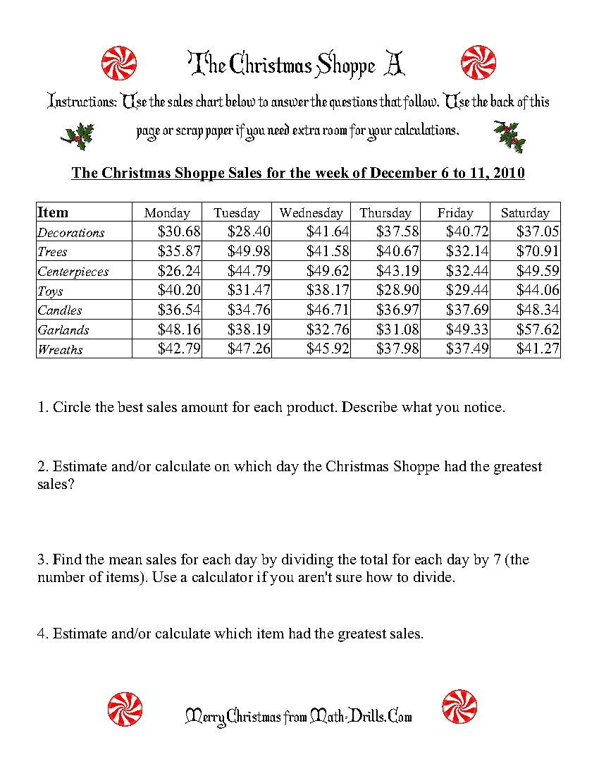The Christmas Shoppe: Worksheets That Require Adding And