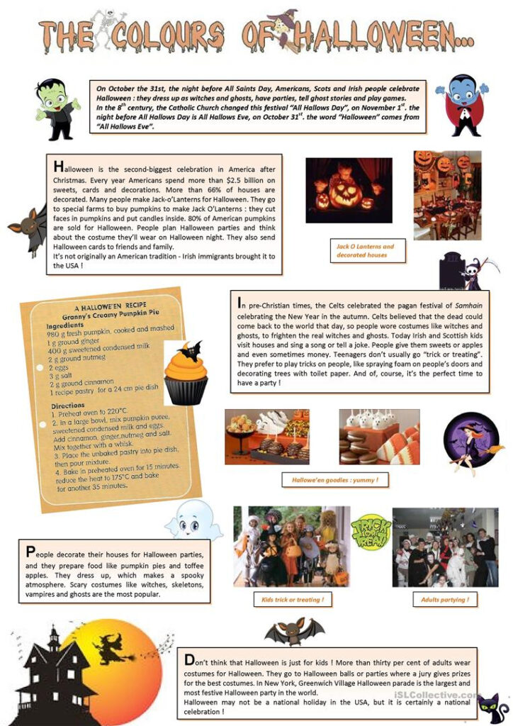 The Colours Of Halloween (1)   English Esl Worksheets For