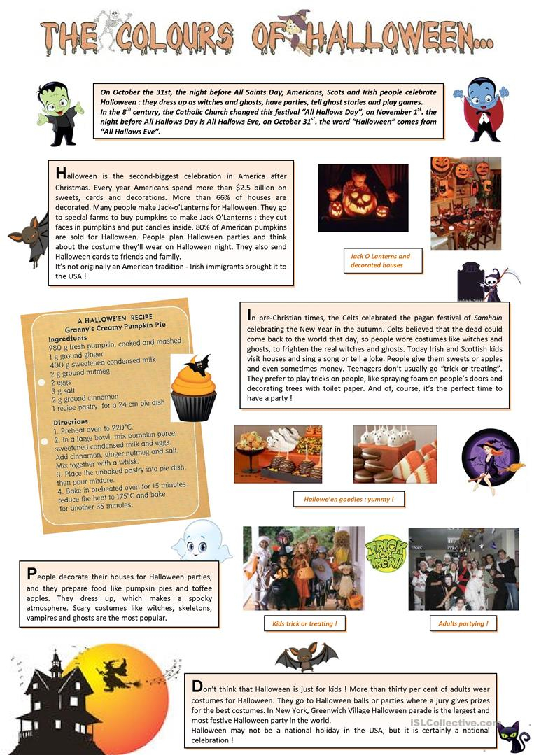 The Colours Of Halloween (1) - English Esl Worksheets For