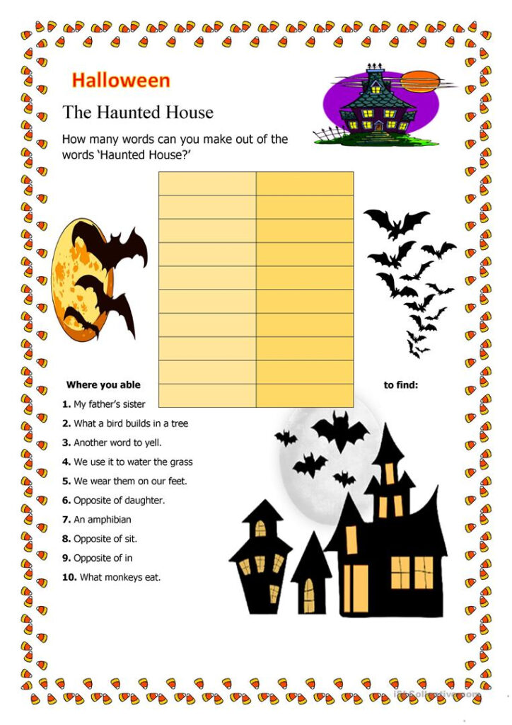 The Haunted House   English Esl Worksheets For Distance
