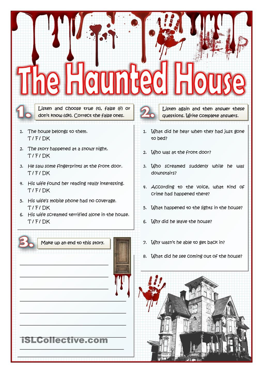 The Haunted House - Listening And Writing | Actividades De