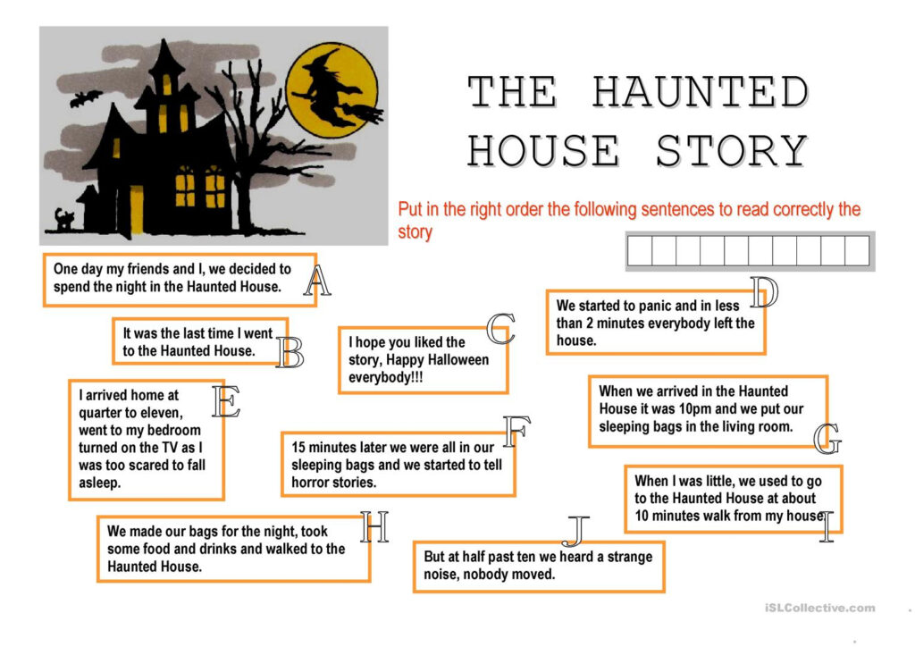 The Haunted House Story   English Esl Worksheets For