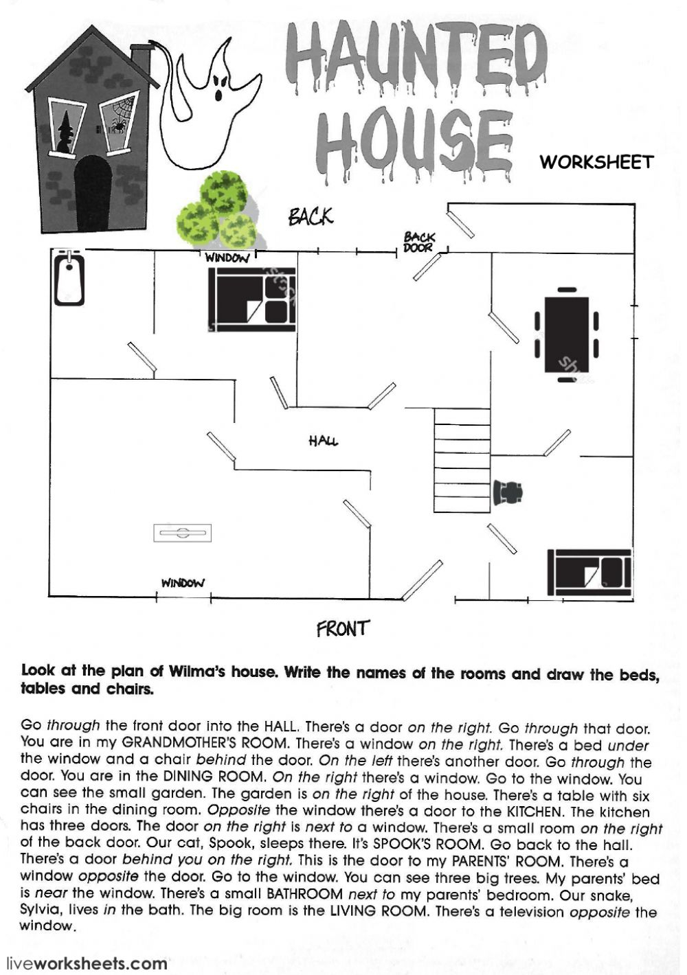 The Haunted House Worksheet