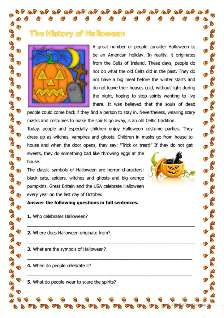 The History Of Halloween   English Esl Worksheets For