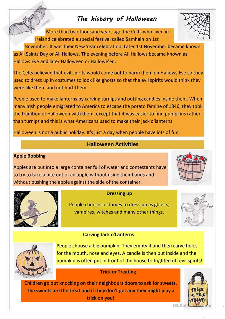 The History Of Halloween - English Esl Worksheets For