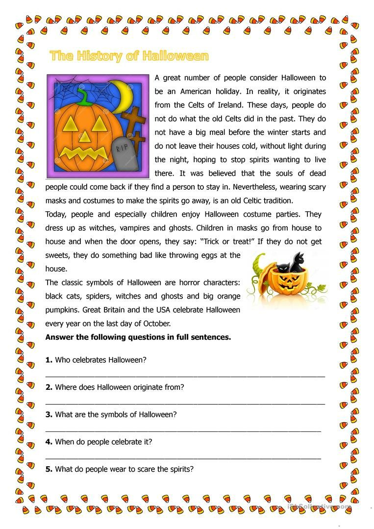 The History Of Halloween - English Esl Worksheets