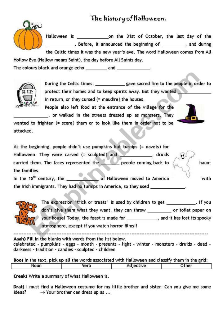 The History Of Halloween   Esl Worksheetpoutche