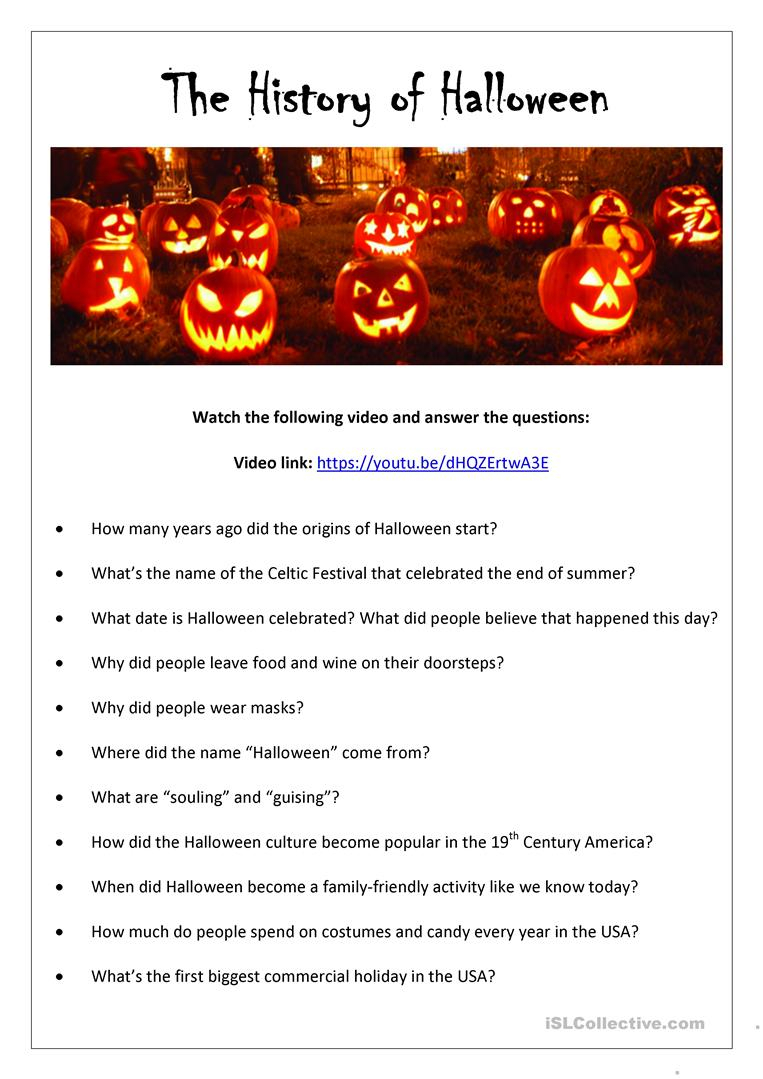 The History Of Halloween (With Answer Key) - English Esl